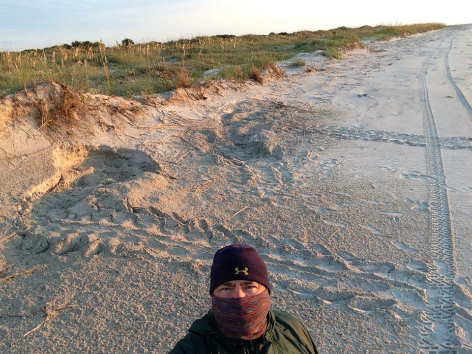 Michael J. Samms selfie with Green Sea Turtle nest 15-208